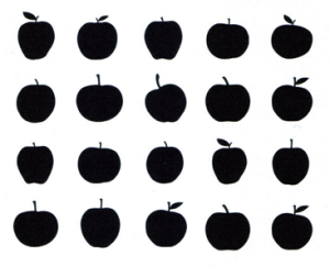 A small sampling of the shapes and sizes of apples, due to extreme heterozygosity